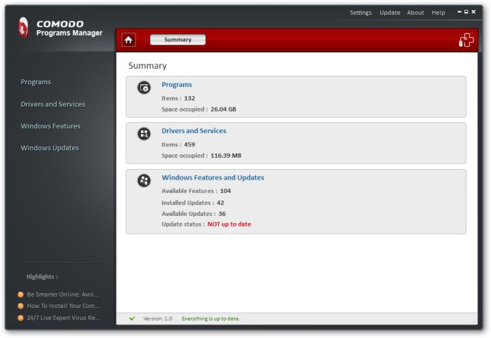 Comodo-Programs-Manager-Home