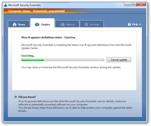Microsoft Security Essentials - Update