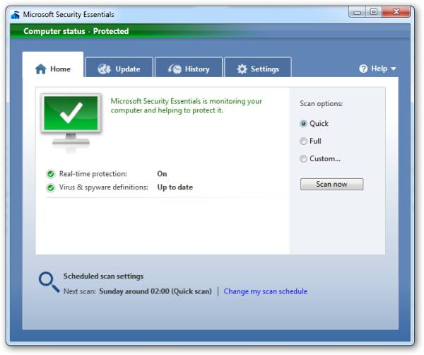 Microsoft Security Essentials - Home