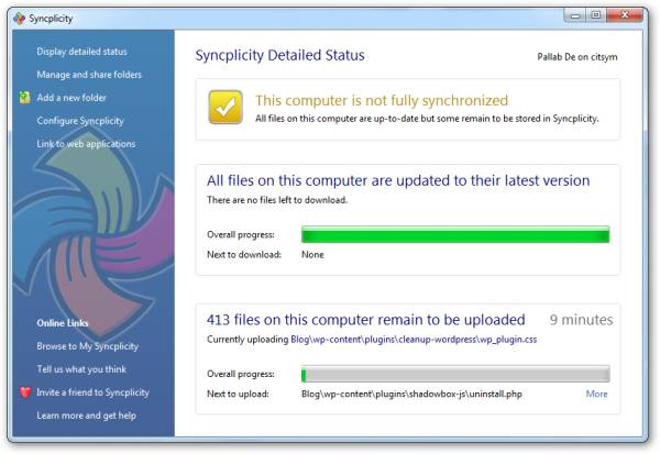 Syncplicity - Status Window