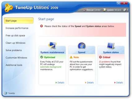 TuneUp Utilities 2009 - Start Page