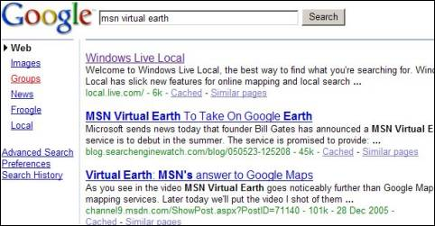 Google Search Results in December 2005