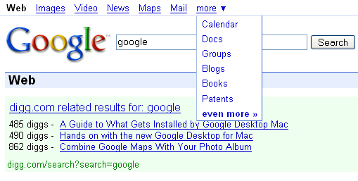 Google Search Results in March 2007