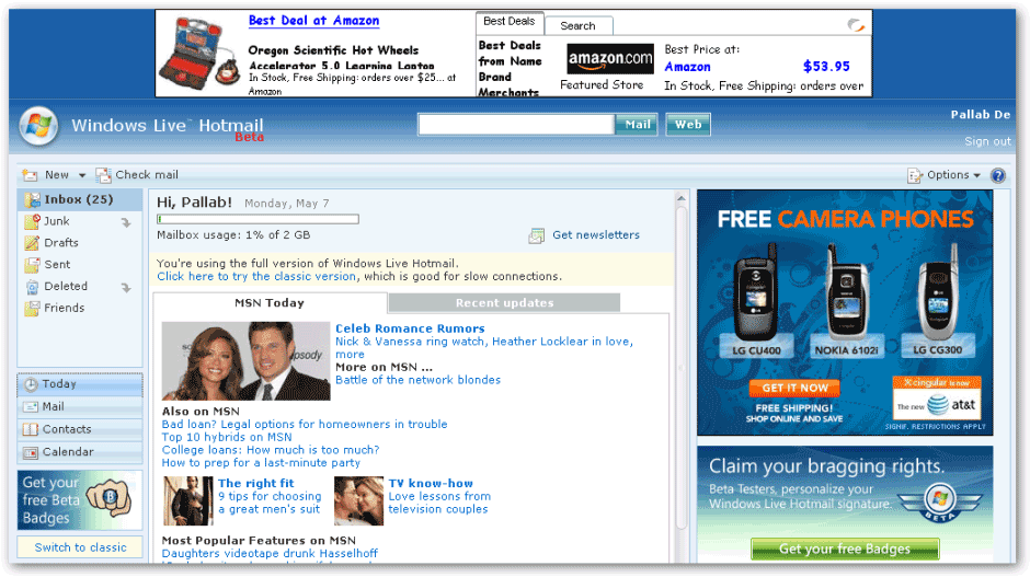 Windows Live Hotmail - Today Page